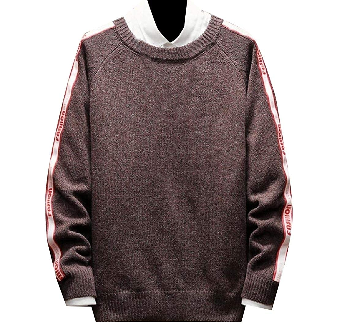 YUNY Mens Plus-Size Pullover Hit Color Loose Sweater Outwear Wine red S