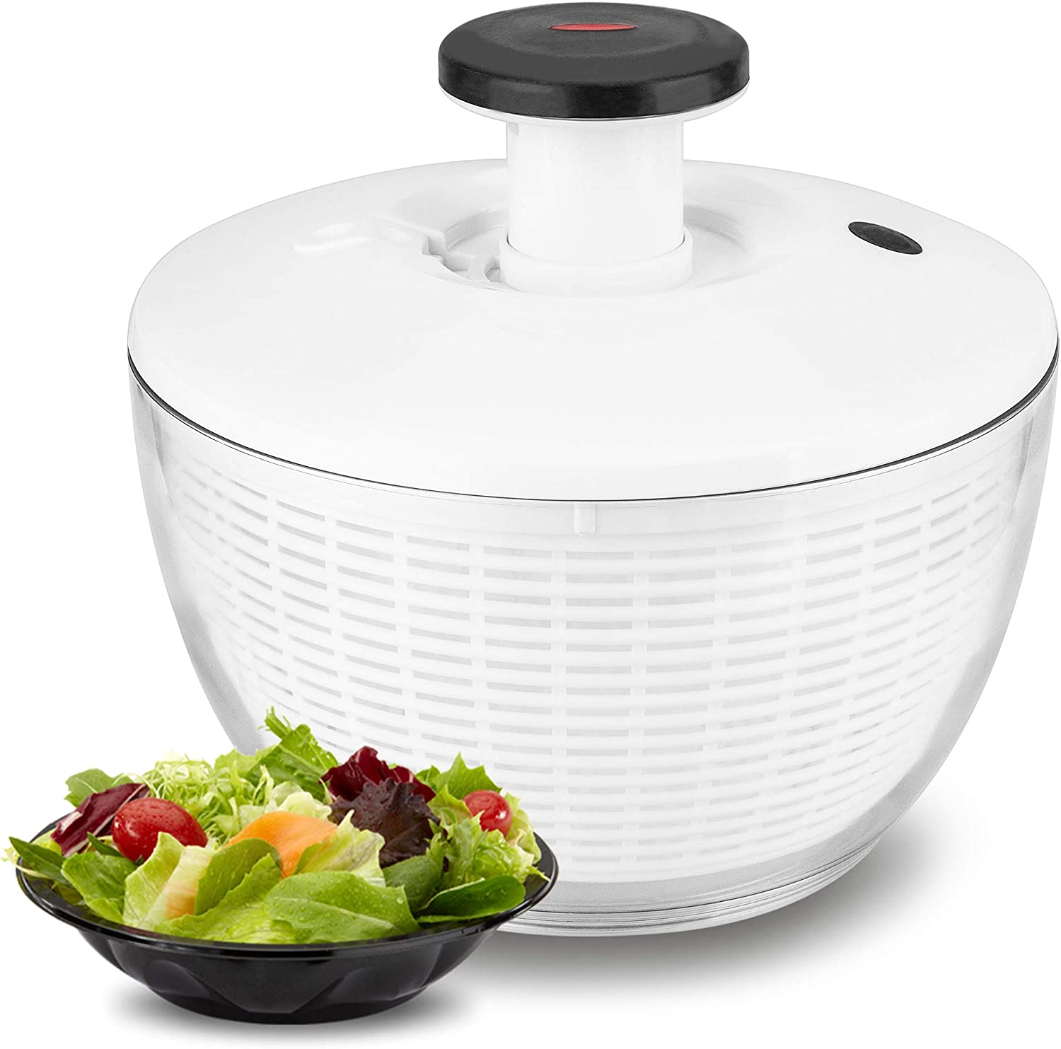 Salad Spinner, ENLOY Large 6.2 Quart Fruits and Vegetables Washer, One-Hand Pump Operation Dryer with Bowl, Compact Storage Strainer Perfect for Washing & Drying Leafy Vegetables