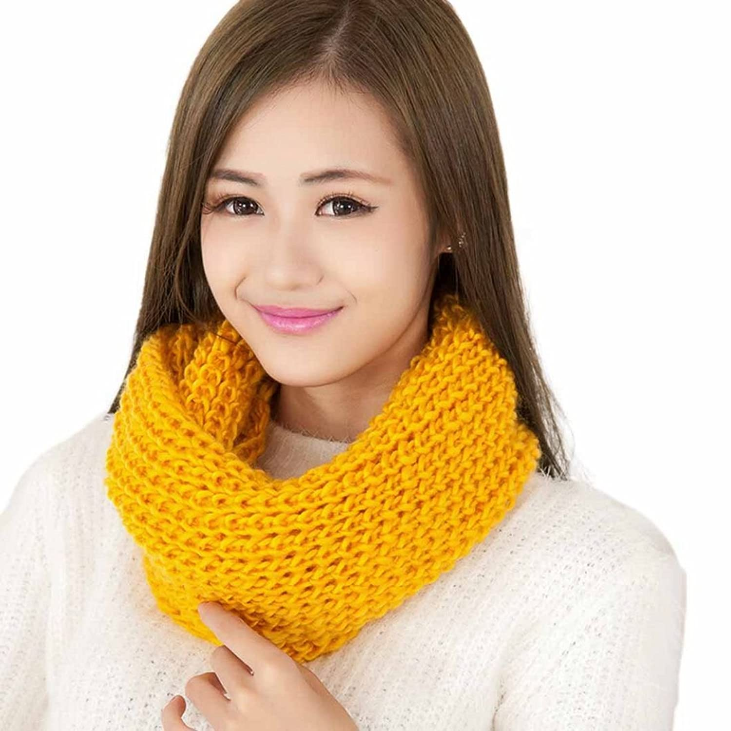 DZT1968(TM) Newest Women Winter Warm Long 2 Circle Cable Knit Cowl Neck Scarf Shawl (YL)
