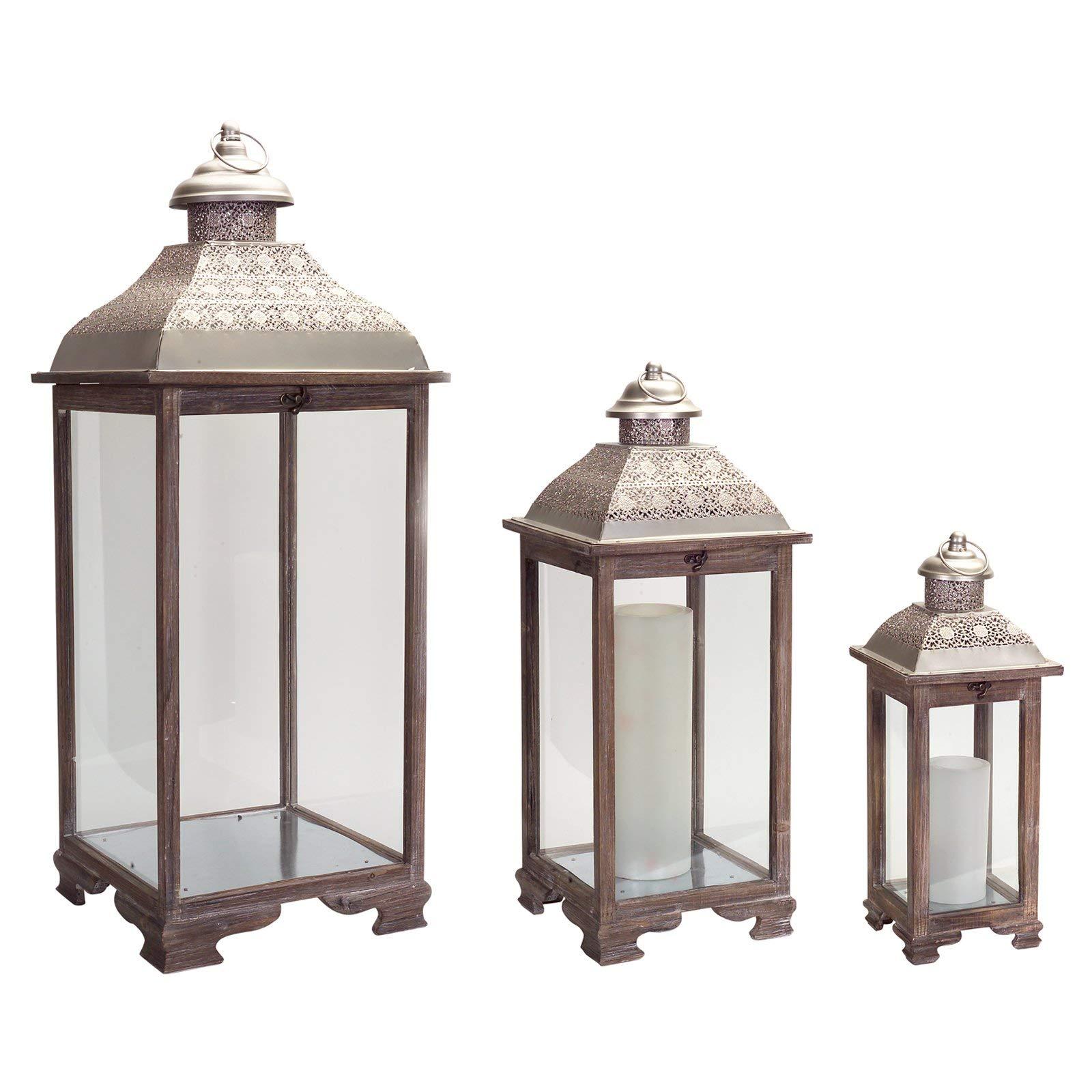 Melrose International Gray Lantern, Set of Three