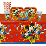 Mickey Mouse Party Supplies Pack for 16 Guests: Straws, Plates, Napkins, Cups, and Table Cover