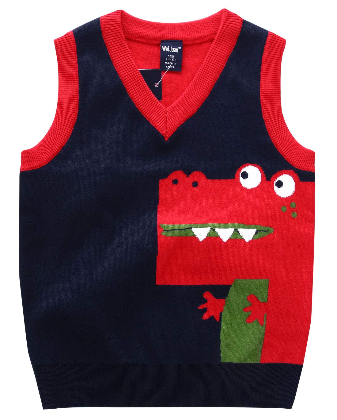 Happy Cherry Kids Pullover Round Neck Faux Stripe Tie Knit Fashion Sweater Vest