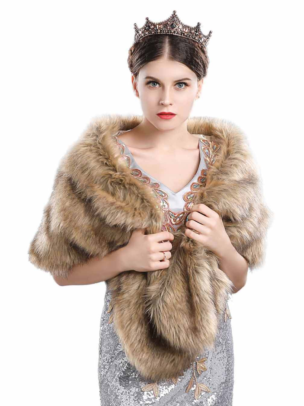 Aukmla Bridal Fur Wraps and Shawls Fur Stole for Women and Girls.(Brown)