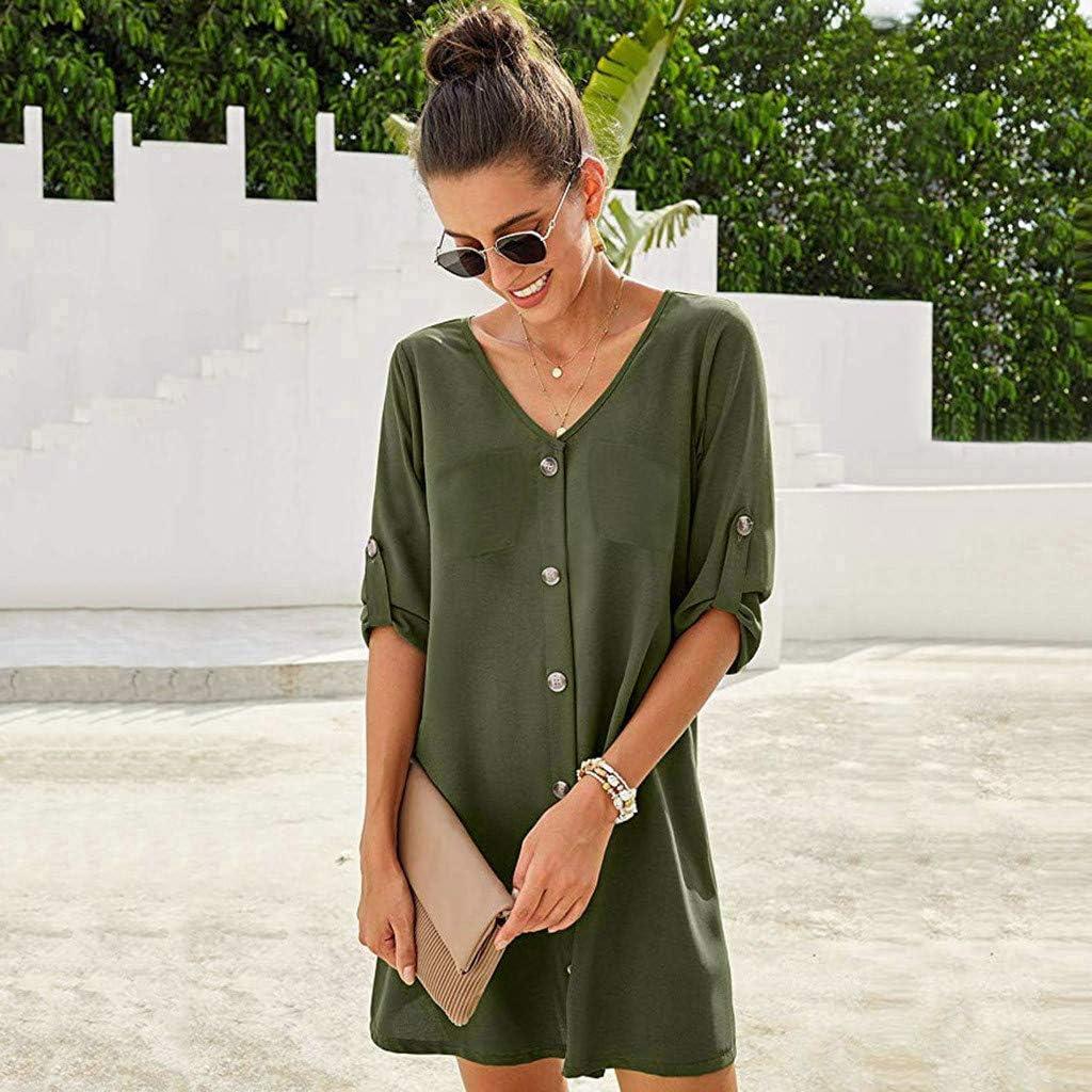XVSSAA Womens 3//4 Roll Sleeve Dress Ladies Solid Color V-Neck Button Comfortable Cotton Linen Shirt Dress