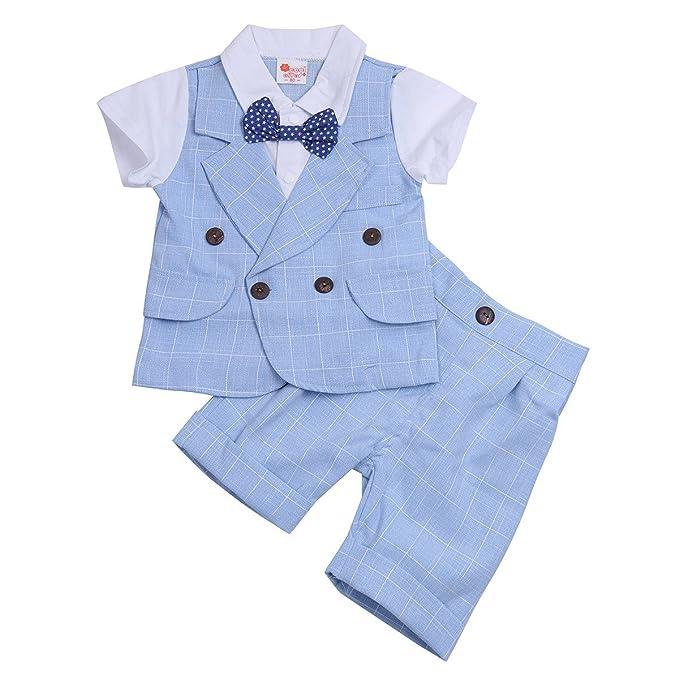 YiZYiF Traje De Ceremonia Ropa De Bautizo Niño Conjunto Dos Piezas Camiseta Pantalones para Bebé Niño 2-5 Años: Amazon.es: Ropa y accesorios