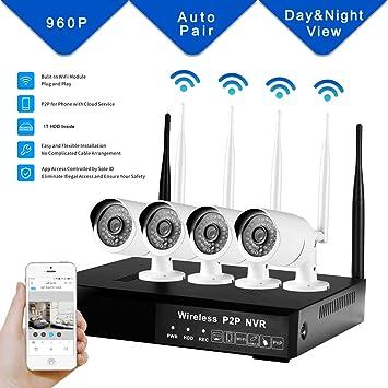 DOHAOOE Hi3520D 4CH Cámara de vigilancia inalámbrica 1.3MP 500m IPC WiFi Kit 72Mbps para el