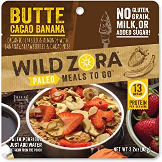 product image for Wild Zora Paleo Meals To Go - Butte Cacao Banana - Freeze Dried Meal for Backpacking and Camping - Vegan Breakfast - Gluten Free, Grain Free, No Added Sugar - (Single Serving)