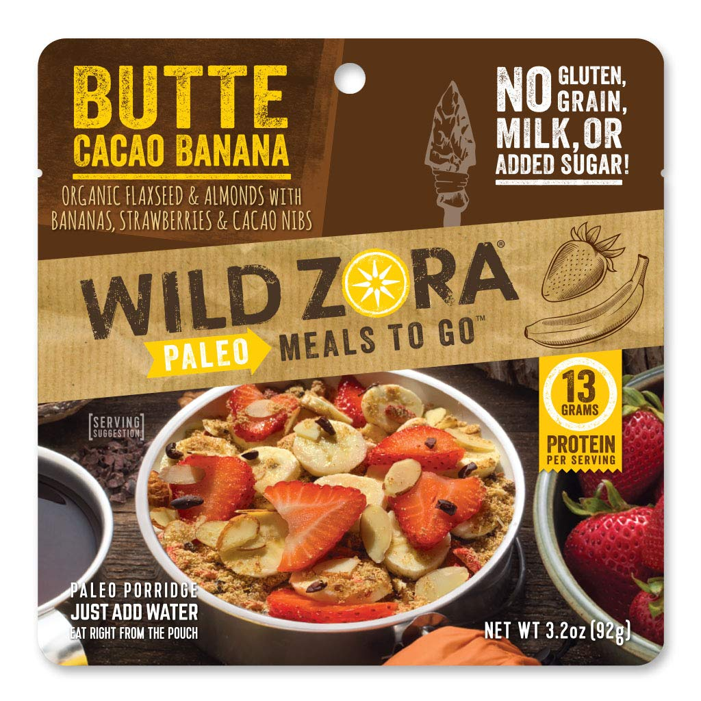 Wild Zora Paleo Meals To Go - Butte Cacao Banana - Freeze Dried Meal for Backpacking and Camping - Vegan Breakfast - Gluten Free, Grain Free, No Added Sugar - (Single Serving)