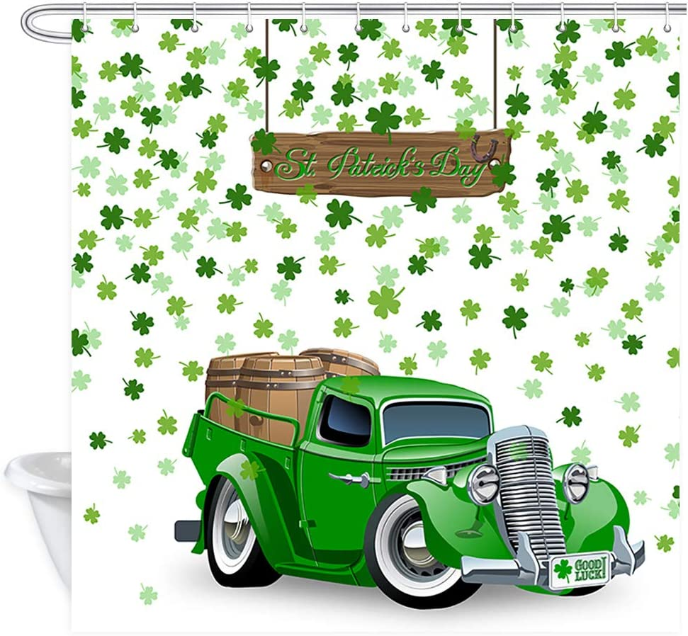 Hasdrop 9X6FT Happy St.Patricks Day Backdrop Lucky Irish Shamrock Green Clover Green Beer Mug Bowknot Blurry Wallpaper Rustic Wood Plank Spring Vinyl Photography Background Photo Studio Props HSM30
