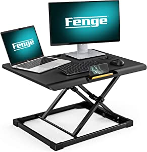 FENGE Standing Desk Conventer with Storage Area Height Adjustable Stand Up Desk for Laptop SD108003MB