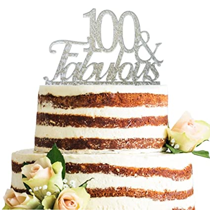 Glitter Silver Acrylic 100 Fabulous Cake Topper 100th Birthday Party Cupcake Decoration