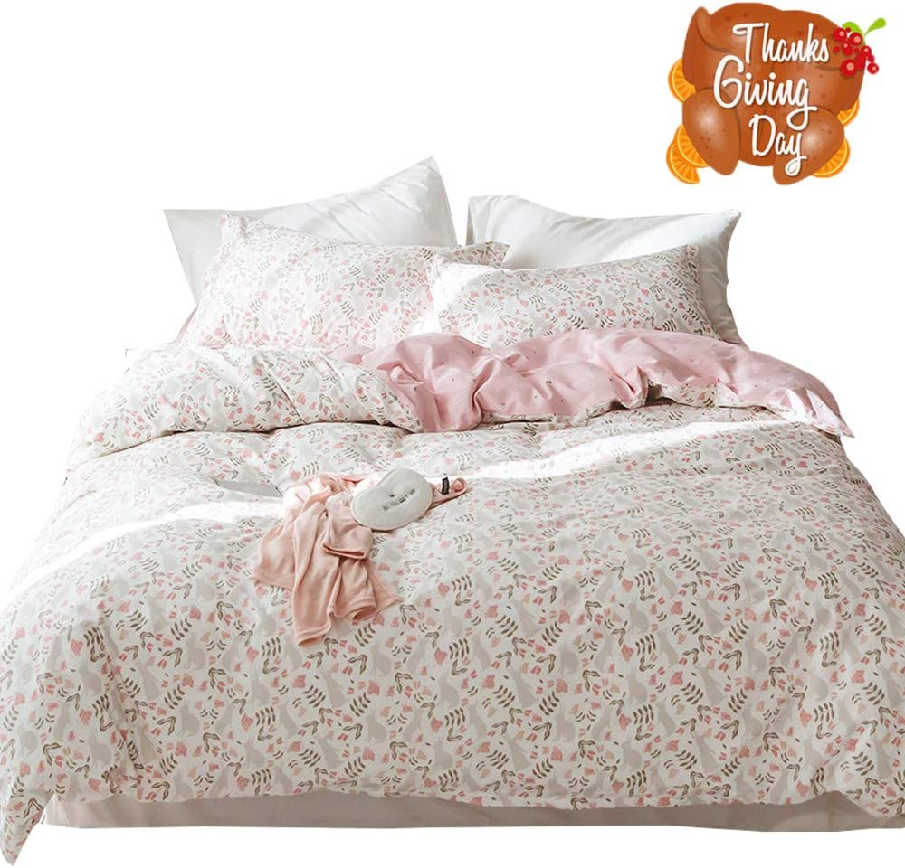 OTOB Pink Kids Girls Twin Bedding Sets Cotton Floral Twin Duvet Cover with 2 Pillow Shams Reversible Grey Rabbit Flower Leaf Pirnt 3 Piece Bed Princess Bedding Sets, Twin