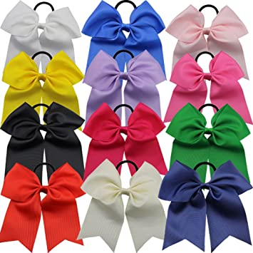 "12PCS 8/"" Boutique Girls Large Bow Hair Bow Alligator Clips Ribbon Mix 12 Colors"