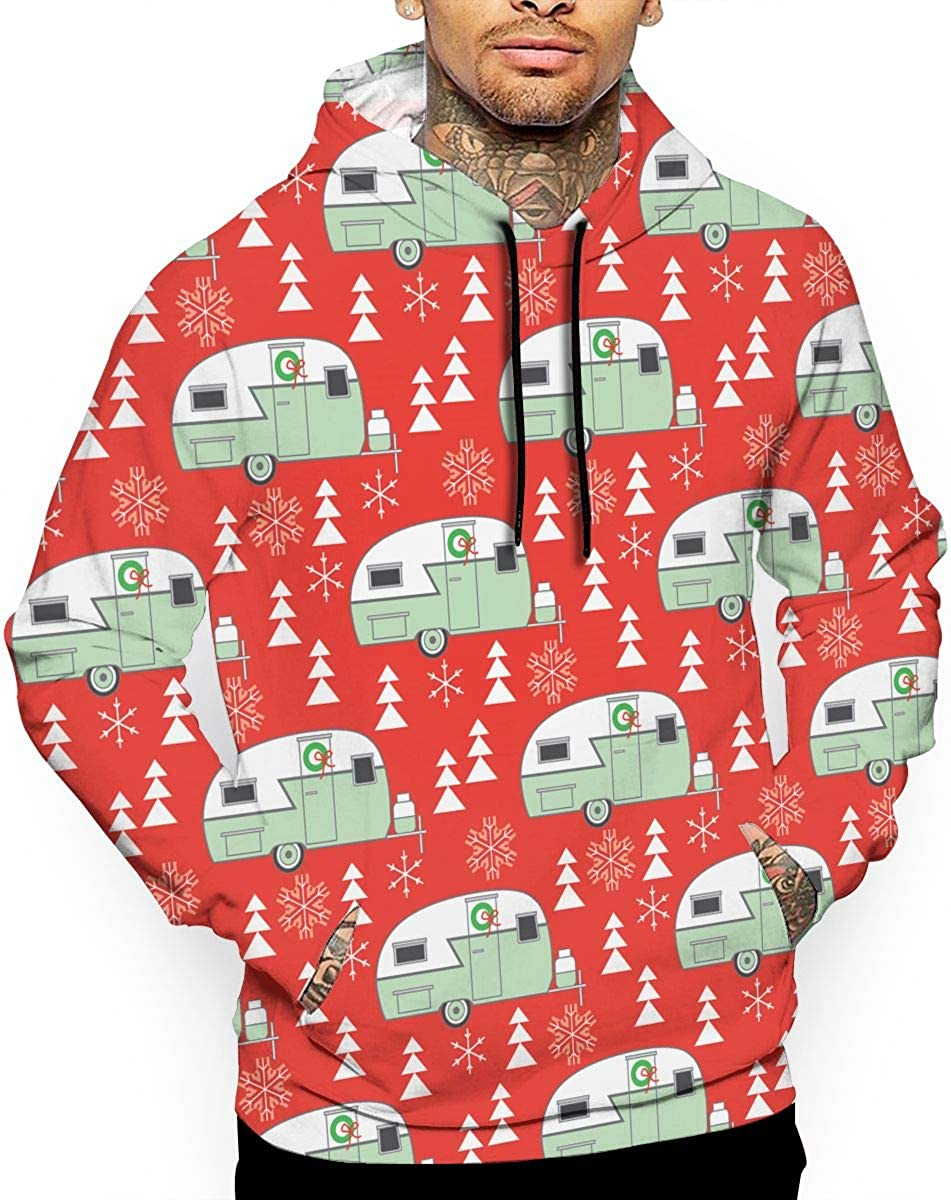 Christmas Trailers Mens Front Pouch Pocket Pullover Hoodie Sweatshirt Long Sleeves Pullover Tops