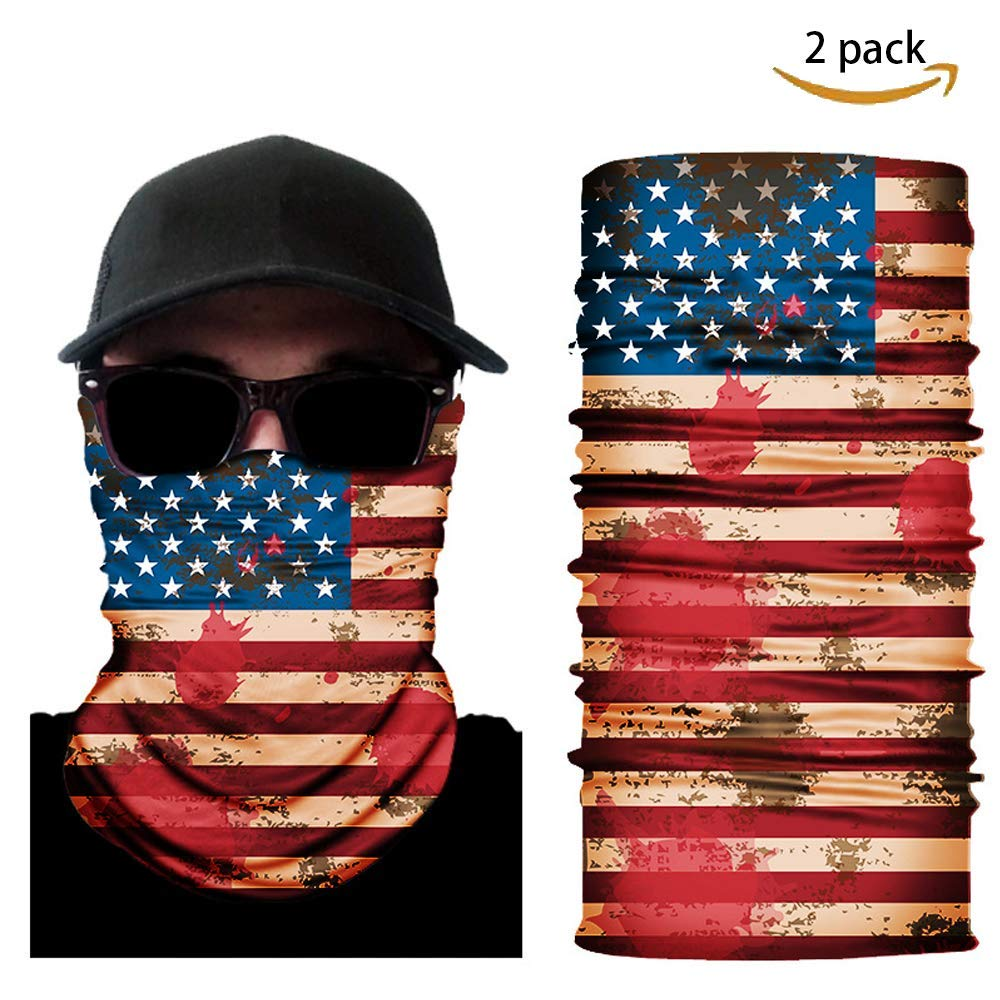 Sports Wolf Warriors 2 Pack Seamless US Flag Pattern Face Mask Bandanas for Riding Dust Outdoors Festivals for Men and Women