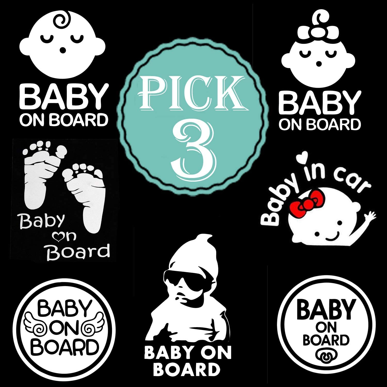 TOTOMO Baby on Board Sticker Seelping Baby Boy ALI-026 - Safety Caution Decal Sign Stickers for Cars Windows Bumpers Set of 2