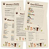 Woodland Animals Baby Shower Games Card Pack for Boy, Girl - Fun Gender Reveal Party, 5 Games, 101pcs Set