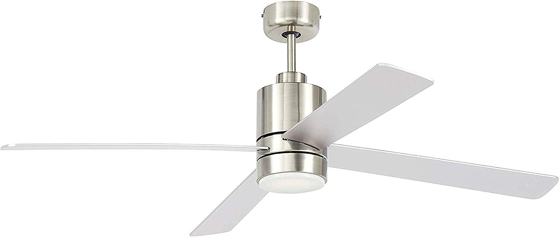 "Amazon Brand – Rivet Alexa-Compatible Ceiling Fan with Light, Remote Control, 52"" Diameter, Nickel"