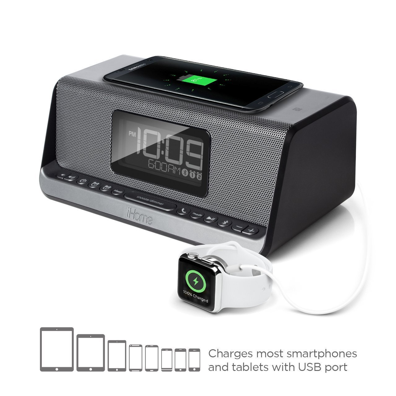 iHome iBN350 NFC Bluetooth Stereo Dual Alarm Clock with Speakerphone, Qi Wireless Charging and USB Out Charging for Any USB Device - (Certified Refurbished)