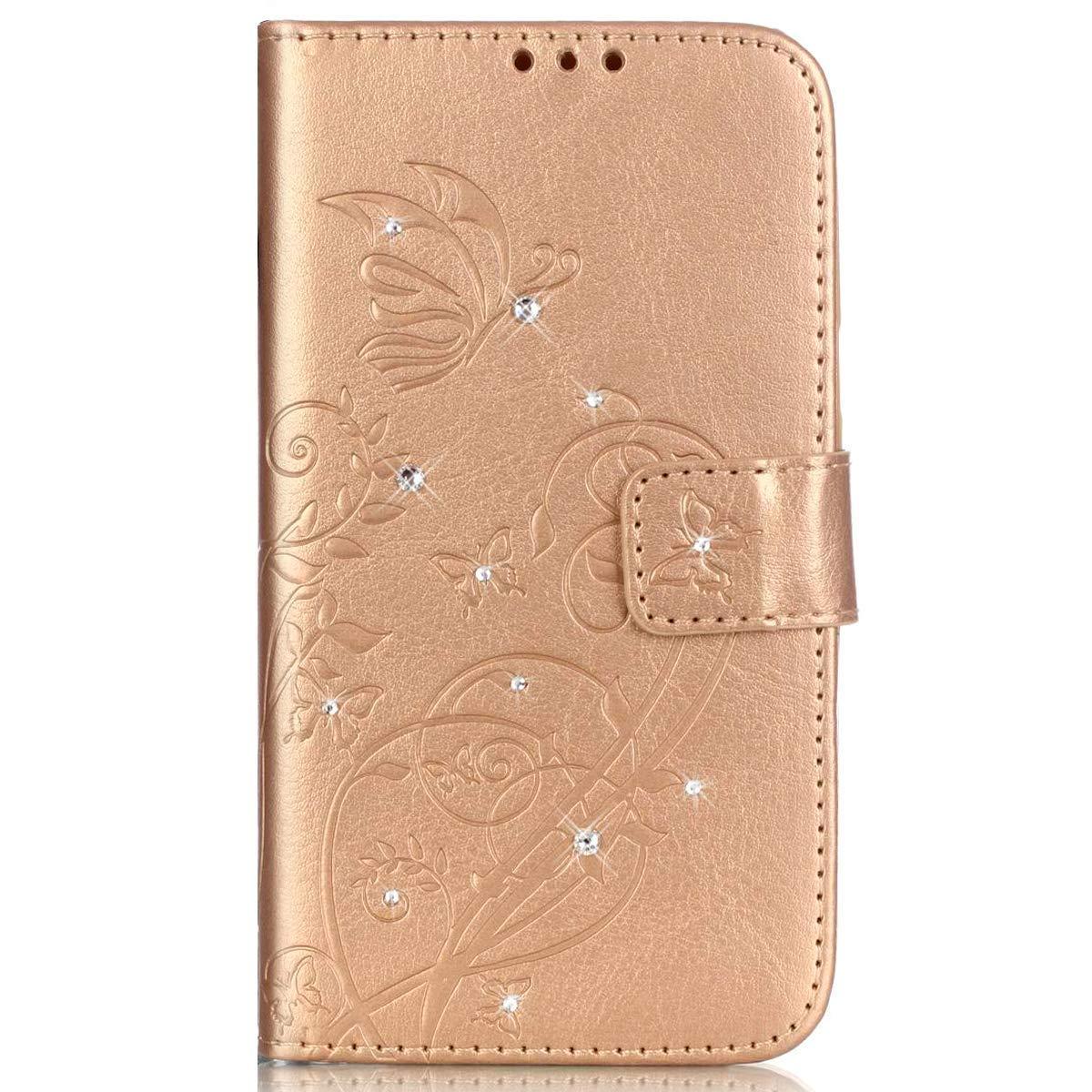kompatibel mit Galaxy S8 Plus H/ülle,Handyh/ülle Galaxy S8 Plus Blume Schmetterling Glitzer Strass Diamant PU Lederh/ülle Flip H/ülle Wallet Tasche Schutzh/ülle f/ür Galaxy S8 Plus,Blau