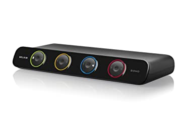 belkin f1dd104lea soho series 4 port dvi kvm switch with audio and built in