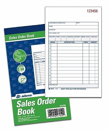 Amazon.com : Adams Sales Order Books, 2-Part, Carbonless, White ...