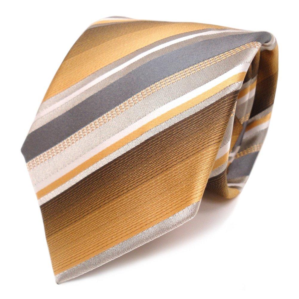 Corbata de seda - beige bronce blanco gris rayas: Amazon.es: Ropa ...