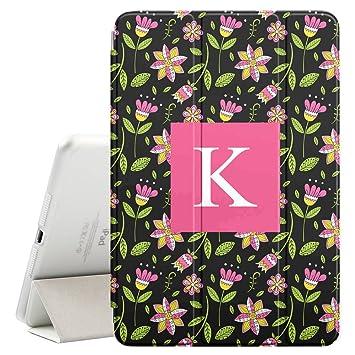 [ K - INITIAL ] [ Apple iPad Mini 4 ][ Name Monogram Folio Case ] with Auto Sleep / Wake Function [ Floral Dark Wallpaper ]: Amazon.ca: Electronics