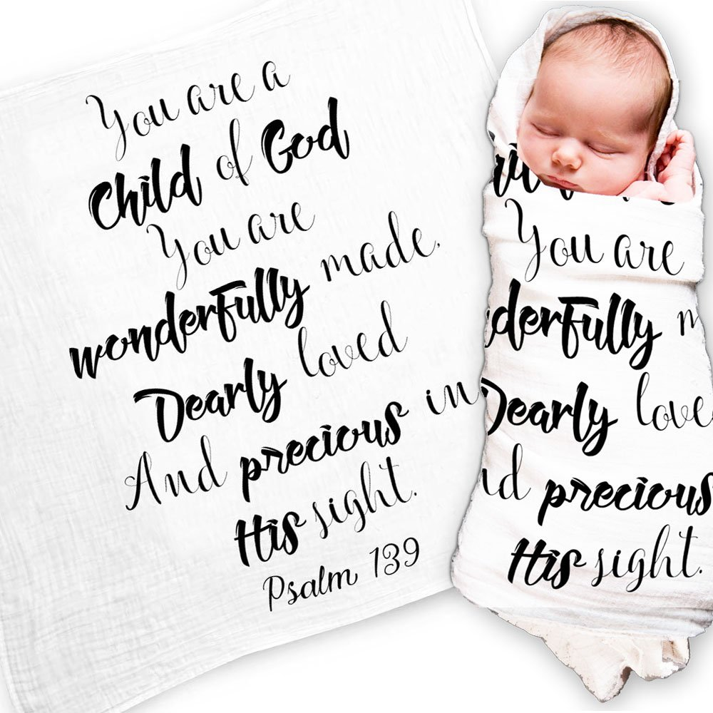 Ocean Drop Designs - White Muslin Swaddle Blankets - Psalm 139 'Child of God' Quote - for Christening, Baptism, Baby Shower, Godchild Gift - 100% Cotton, Breathable - Machine Washable (47''x47'') by Ocean Drop Designs