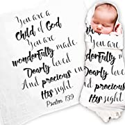 "Ocean Drop Designs - White Muslin Swaddle Blankets - Psalm 139 'Child of God' Quote - for Christening, Baptism, Baby Shower, Godchild Gift - 100% Cotton, Breathable - Machine Washable (47""x47"")"
