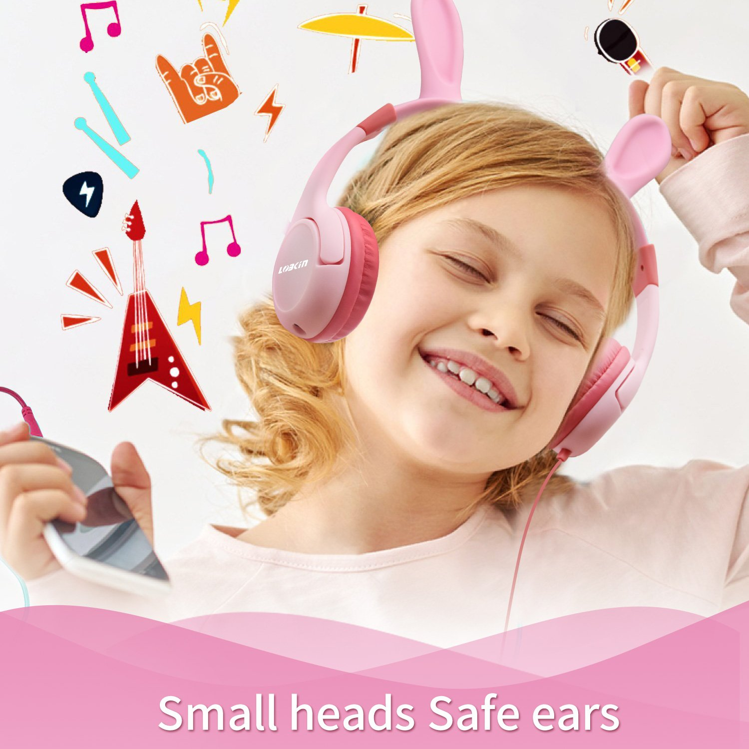 LOBKIN Kids Headphones, Kids Bunny Ears Headsets Wired On-Ear Headphones Food Grade Silicone Safe for Children with 85dB Volume Limited Hearing Protection & Music Sharing Function (PINK(Bunny Ears))