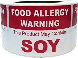 Food Allergy Warning Labels This Product May Contain Soy 2.5 x 3.5 Inch Rectangle 500 Adhesive Stickers