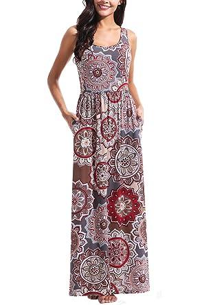 fb2ee5bec084 Zattcas Women s Sleeveless Floral Print Tank Dress Geometric Bohemian Long  Maxi Dresses (Small