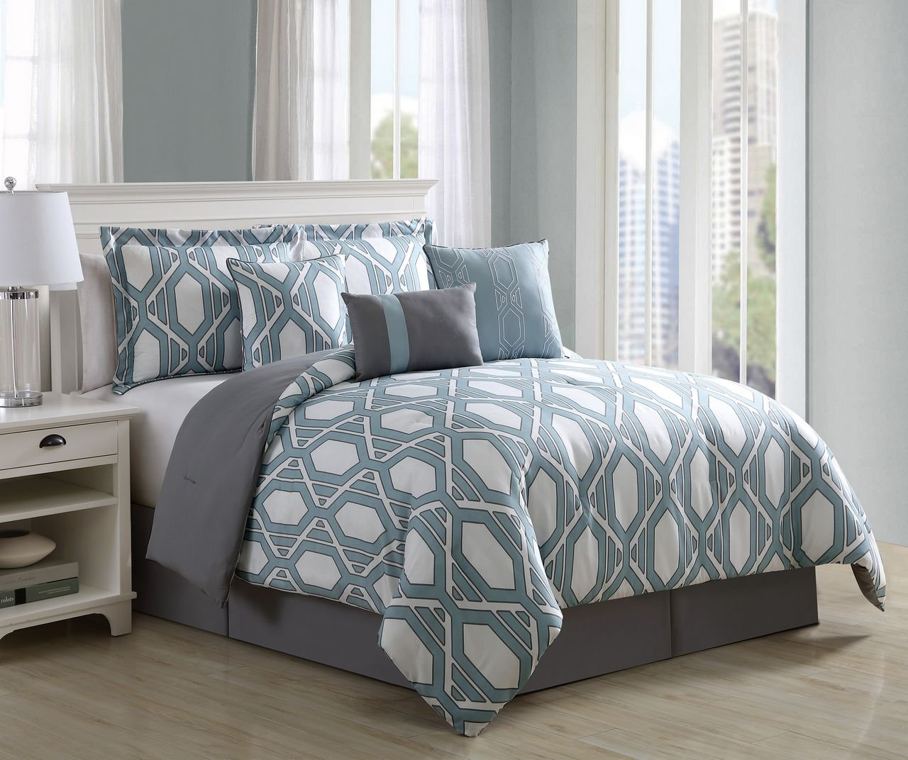 7 Piece Lima Spa/Ivory Comforter Set King