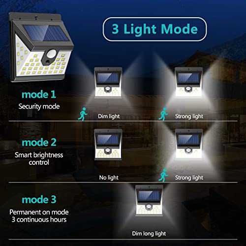 LANSOW Solar Lights Outdoor Motion Sensor, 3 Modes, 270 Wide Angle Lighting Solar Powered Flood Lights, Wireless IP65 Waterproof Solar Security Lights for Fence Wall Yard Deck 5500K, 6 Pack