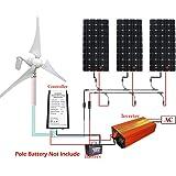 Eco-Worthy Lot de 3panneaux solaire 150W + éolienne 400 W Kit de recharge pour batterie Ondulateur réseau 1000W Idéal pour la maison