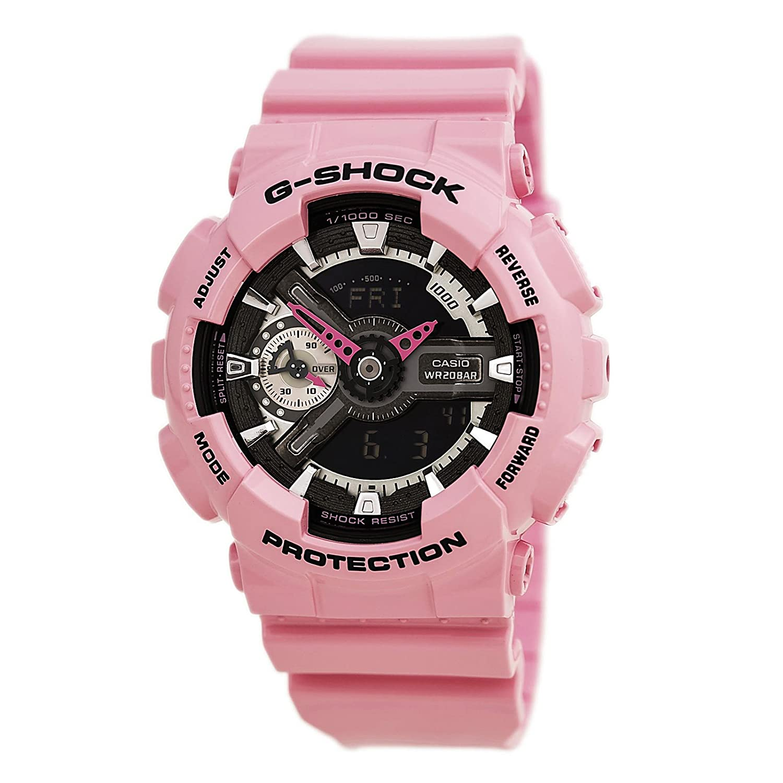Casio g shock black and smoke dial pink resin quartz ladies watch gmas110mp 4a2 ebay for Black resin ladies watch