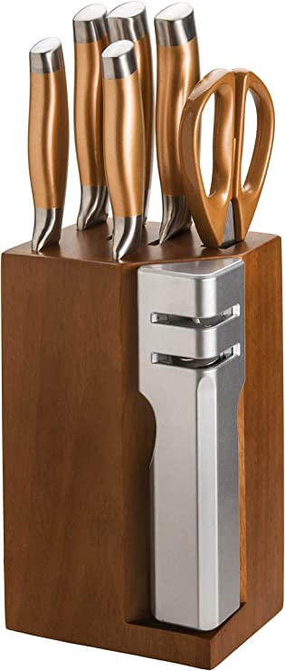 New England Cutlery Knife Block Set 7 Piece Copper Knife Block Set With Sharpner Amazon Ca Home Kitchen