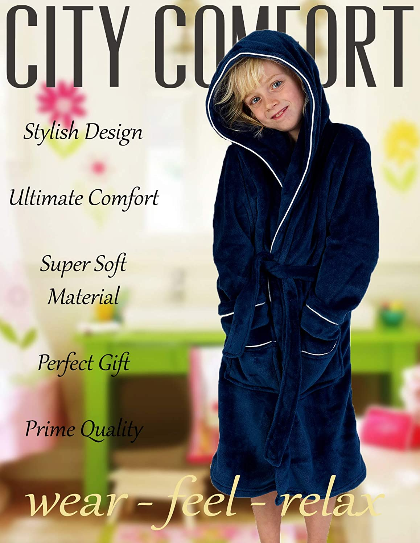 13-14 Years, Navy CityComfort Fleece Dressing Gown Kids Towelling Robe Boys Bathrobe Plush Super Soft