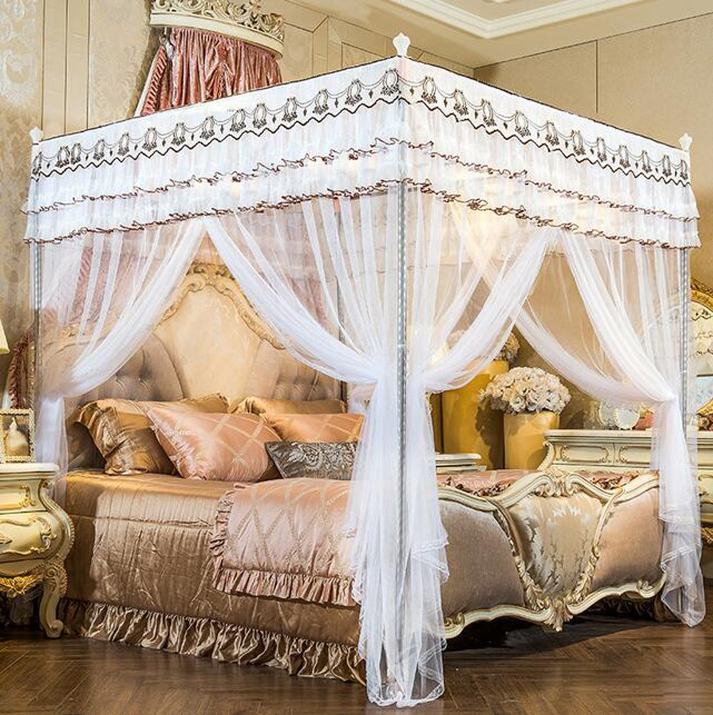 Nattey White Luxury 4 Post Bed Curtain Canopy Mosquito Netting Twin Full Queen King Size (Queen)