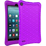 AVAWO Silicone Case for Amazon Fire 7 Tablet with Alexa (7th Generation, 2017 Release only) - Anti Slip Shockproof Light Weight Protective Cover, Purple
