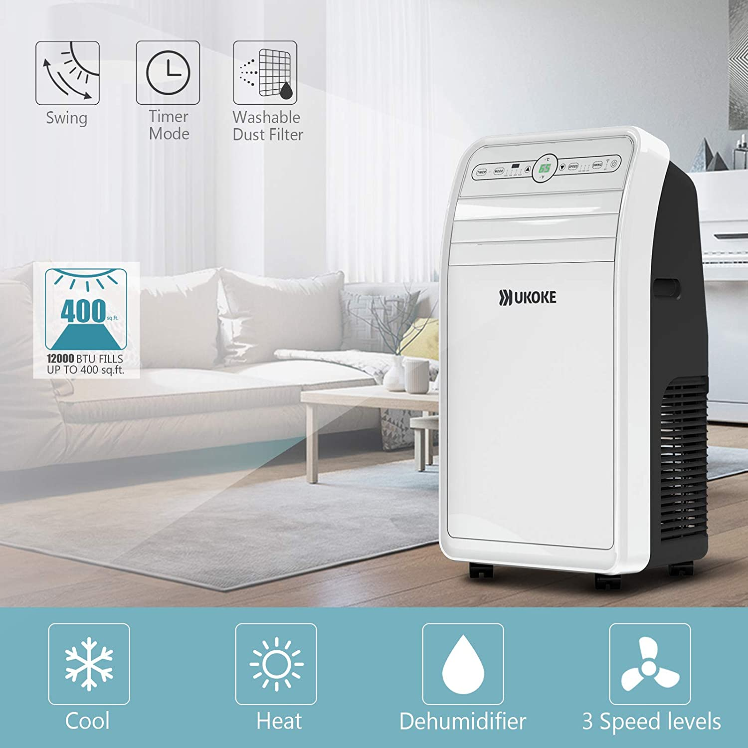Ukoke USPC01W Smart Wifi Portable Air Conditioner, Works with Alexa Mobile App Control, 12000BTU, 4 in 1 AC Unit with Cool, Heat, Dehumidifier Fan, up to 400 Sq. ft