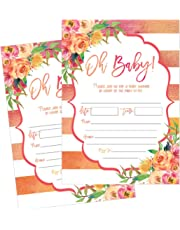 50 Fill in Cute Baby Shower Invitations, Baby Shower Invitations Floral, Pink and Gold, Neutral, Blank Baby Shower Invites for girl, Baby Invitation Cards Printable