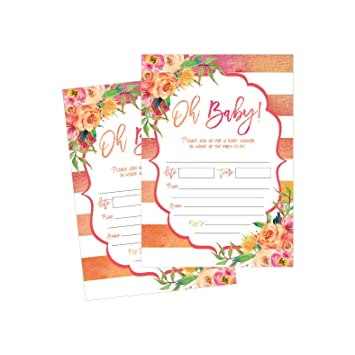 50 Fill In Cute Baby Shower Invitations Floral Pink And Gold