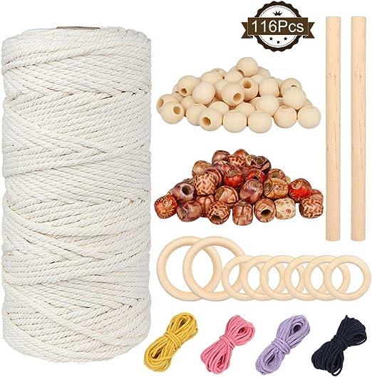 Hilo Macrame,DIAOCARE Macrame Cuerda,Cordel de Algodón de Macrame Natural de 100m con anillo de madera y palo de madera y cordón de color para manualidades decorativas (3mm*100m): Amazon.es: Hogar
