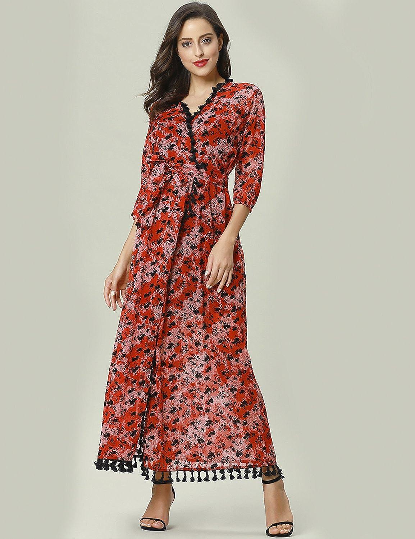 19e984247f0 BAYA Women Floral Print Tassel See-Through Maxi Long Dress Woman Muslim  Dress Dubai Kaftan Islamic Long Tunic Gown: Amazon.co.uk: Clothing