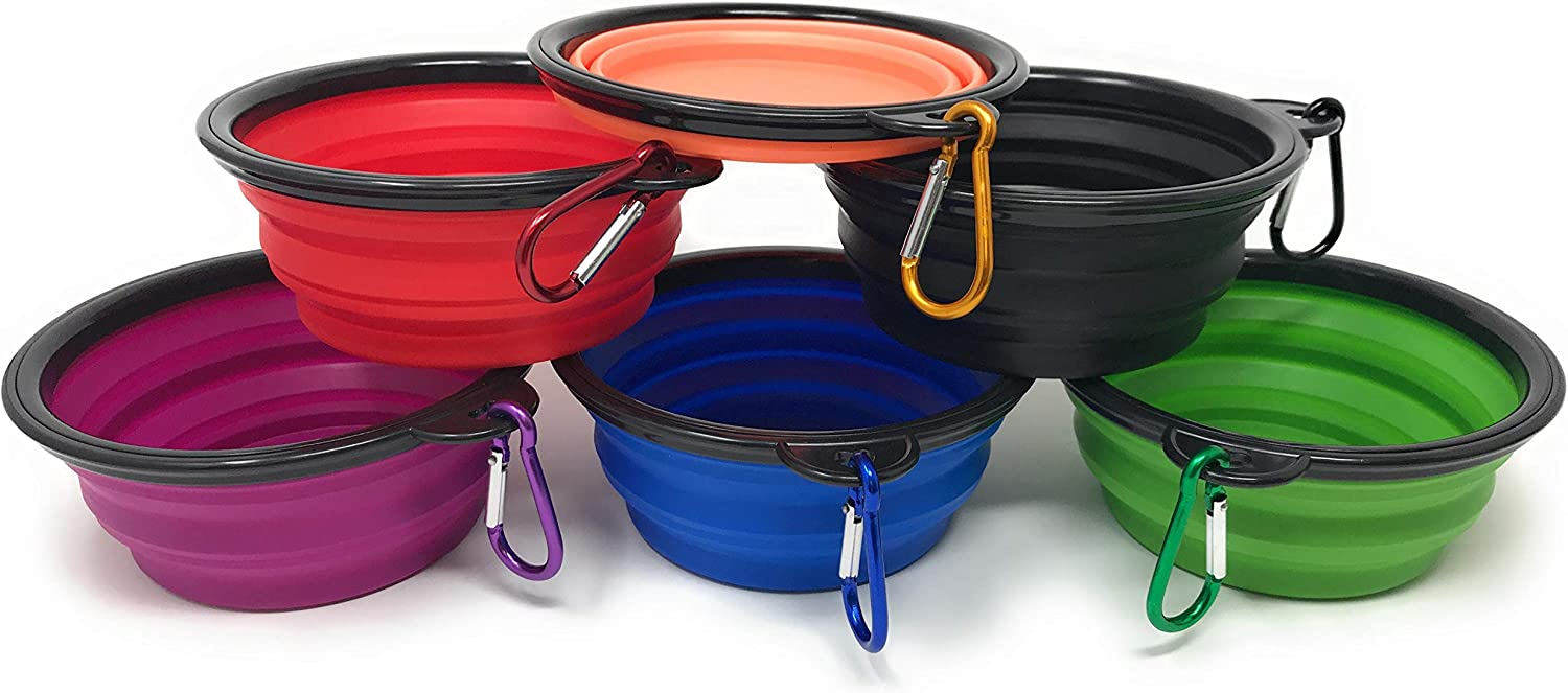 Funiverse Bulk Pack 6 Collapsible Silicon Travel Dog Water or Food Bowl