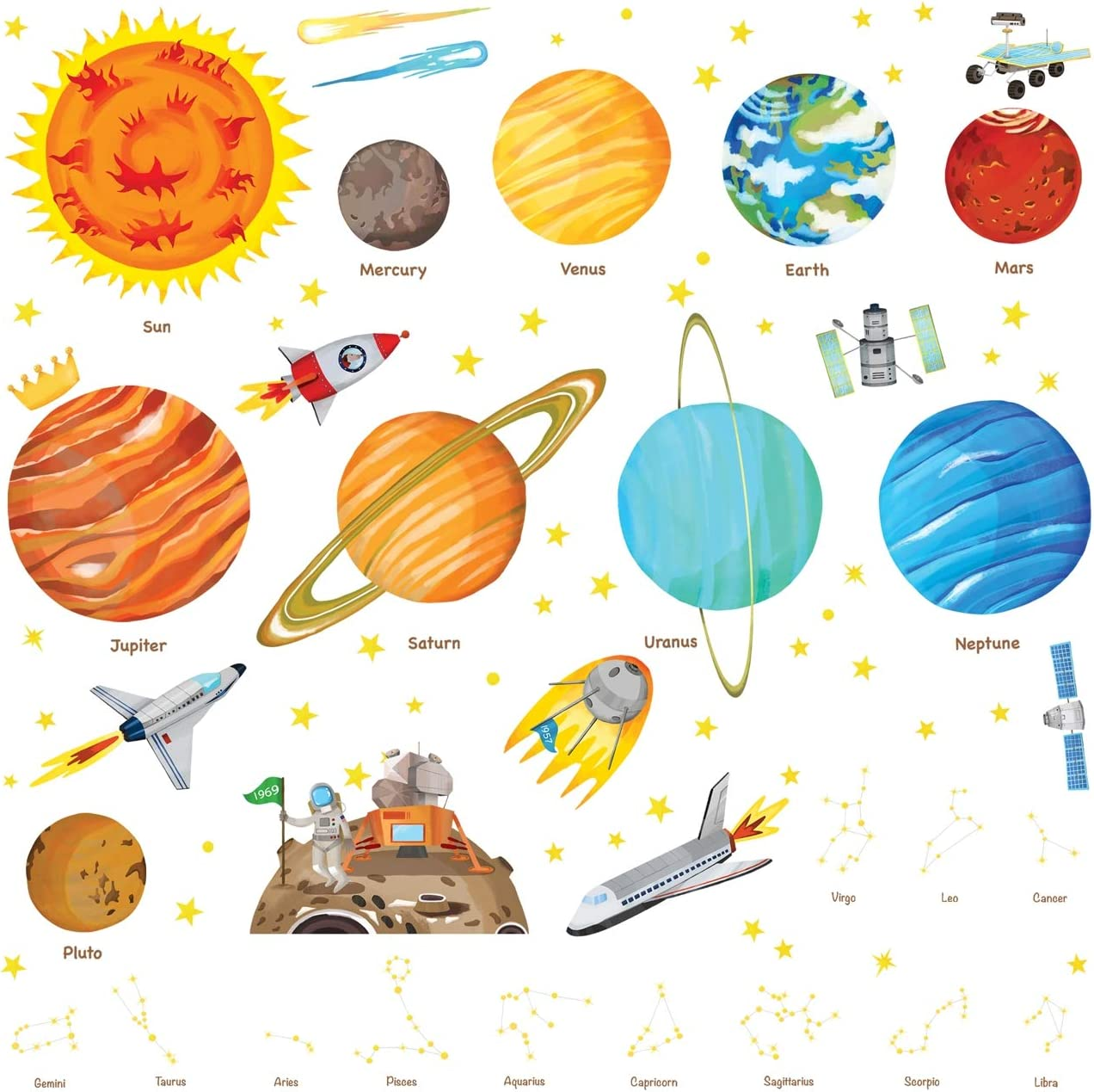 Decowall DS-8018 The Solar System Kids Wall Stickers Wall Decals Peel and Stick Removable Wall Stickers for Kids Nursery Bedroom Living Room Small