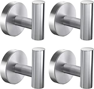 Bathroom Towel Hooks, Coat/Robe Clothes Hooks, Brushed Nickel SUS 304 Stainless Steel Wall Hook Heavy Duty for Bedroom,Kitchen,Restroom,Bathroom,Wall Mounted (Silver, 4 Pack)