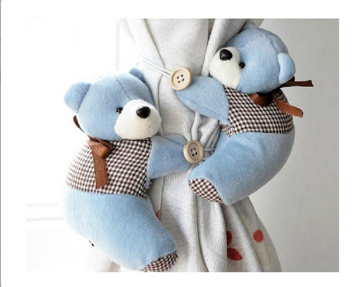 Honeya Free shiping A Pair of Kid Child Infant Nursery Bedroom Livingroom Curtain Tieback Animal Cute Cartoon Teddy Bear Decorative Window Curtain Hooks Clip Clasps Toy CH002